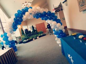 Blue and white spiral archway